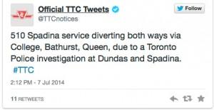 TTC tweet